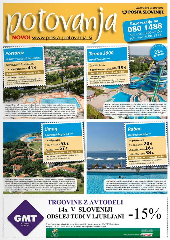 Pošta Slovenije - Katalog Potovanja, maj 2012