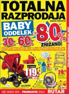 Rutar katalog - 80% znižanja na Baby oddelku